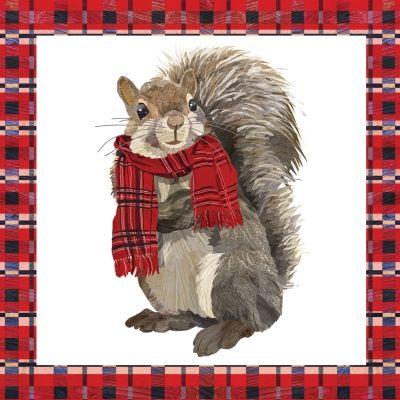 Eekhoorn met shawl, kerstservetten