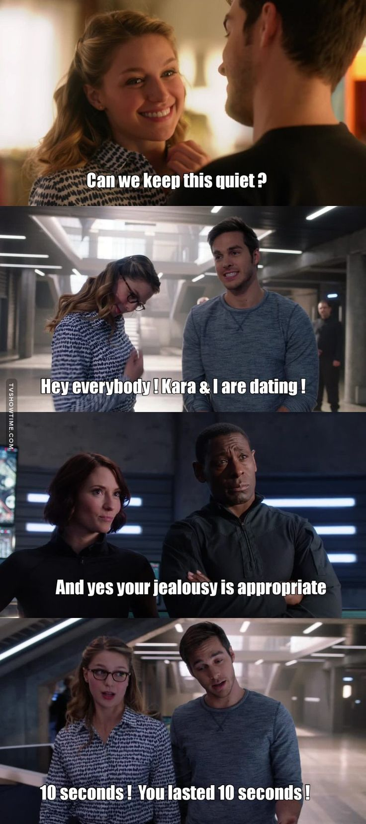 """Can we keep this quiet?"" - Kara and Mon-El #Supergirl ((This was the funniest part of this episode! Loved it!))"