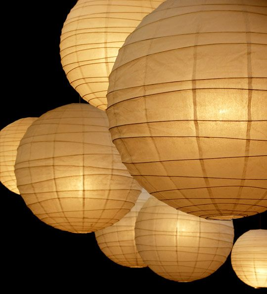 Does Jason know anyone in lighting?? Have them bring up a few big china balls.  They look great hanging out on the periphery of outdoor parties.