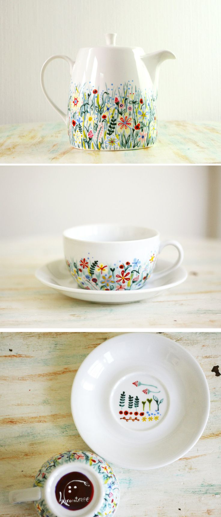 Painted ceramics by roootree | wildflower painting | wildflower | flower pattern | porcelain patterns
