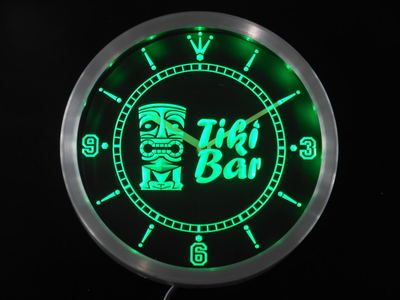 nc0294-g Tiki Bar Mask Beer Neon Sign LED Wall Clock