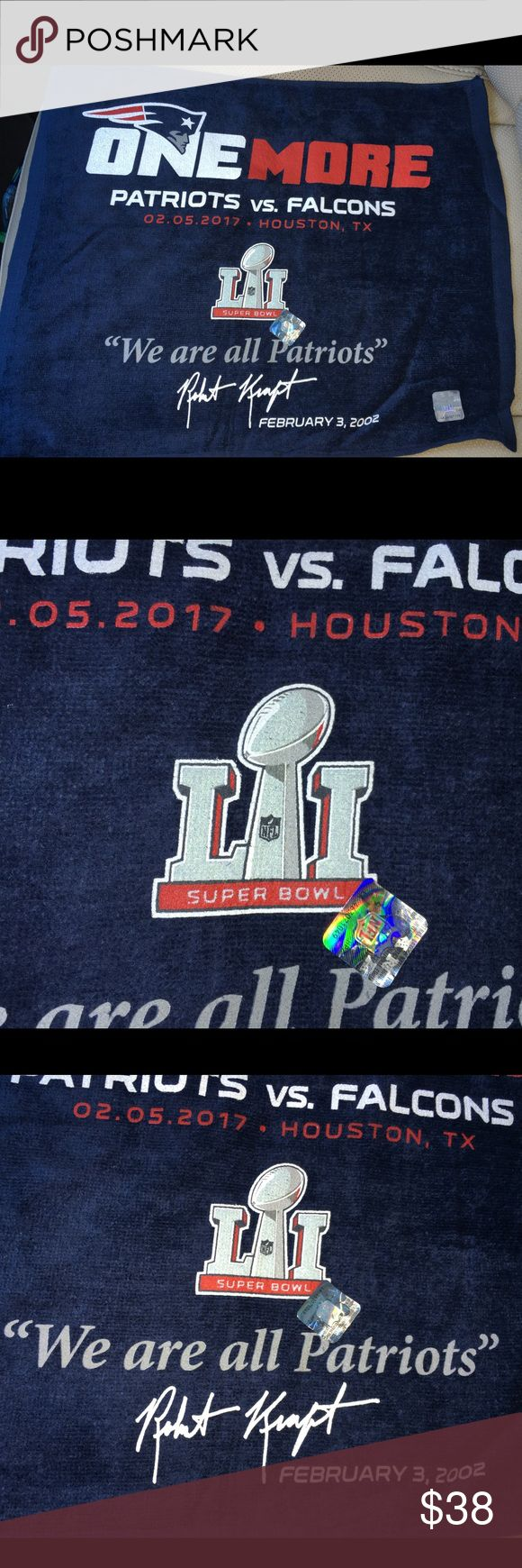"""Official Super Bowl 51 patriots rally towel for sale is the official, New England Patriots, Super Bowl 51, championship rally towel. Has the Super Bowl logo, the site of the Super Bowl, Houston, Tx, official NFL hologram & the date of the Super Bowl 2/5/17. The towel is red white and blue   Tom Brady winning his 5th title!  """"ONE MORE""""  At the bottom has the quote by patriots owner Robert craft, """"We are all patriots"""" with a print of his signature  If you have any questions or would like…"""