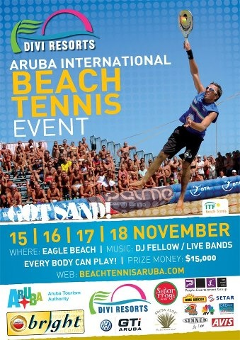 The Beach Tennis Aruba event is more than beach tennis alone, it's about friendship, ambiance, sportsmanship and of course a lot of FUN. It's a melting pot of cultures from all over the world playing Beach Tennis in a 'festival atmosphere'.  The tournament is now an official ITF G1 event with $15.000 in prize money. Players from all over the world will battle on the white sand of Aruba. Registration is open now!   http://www.aruba.com/thingstodo/events/aruba_beach_tennis.aspx