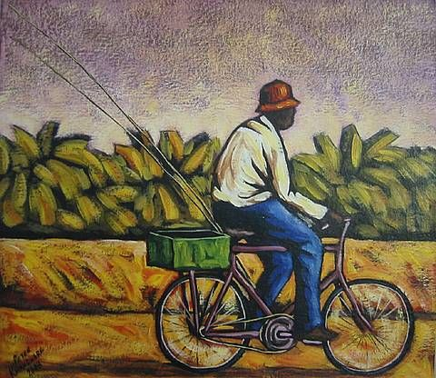 Oil Painting - The Fisherman by Peter Kwangware