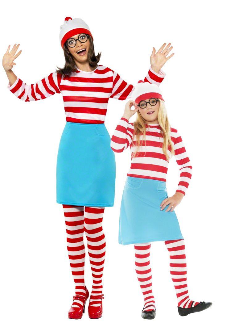 Wo ist Walter?™-Paarkostüm Mutter-Tochter: Wo ist Walter?™-Kostüm für DamenDieses Wo ist Walter?™-Kostüm für Damen besteht aus einem rot-weiß gestreiften Oberteil mit langen Ärmeln, einem...
