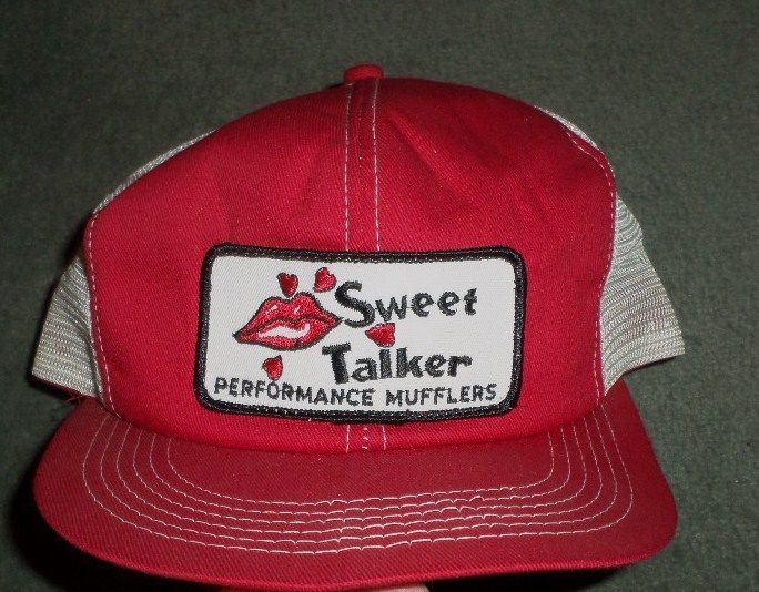 Men's Vintage Red SWEET TALKER PERFORMANCE MUFFLERS Mesh Hat, Snap Strap, GUC #SWEETTALKERPERFORMANCEMUFFLERS #BaseballCap