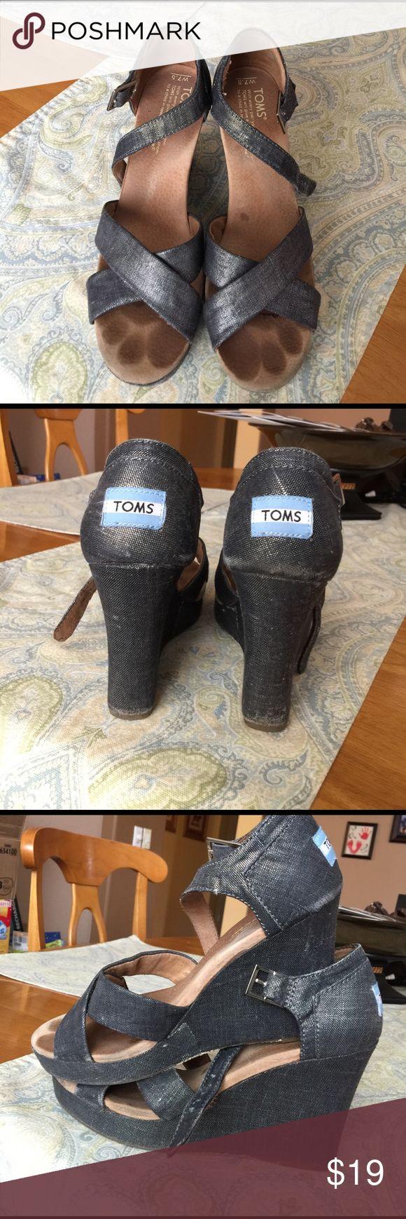 Toms grey metallic wedges. Size 7.5 Toms grey metallic wedges size 7.5. TOMS Shoes Wedges