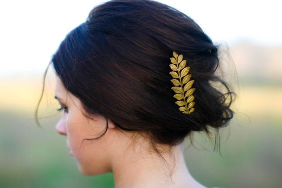Luxe Long Gold Laurel Leaf Hair Pin Bobby Pin Hair Clip Barrette Woodland Boho