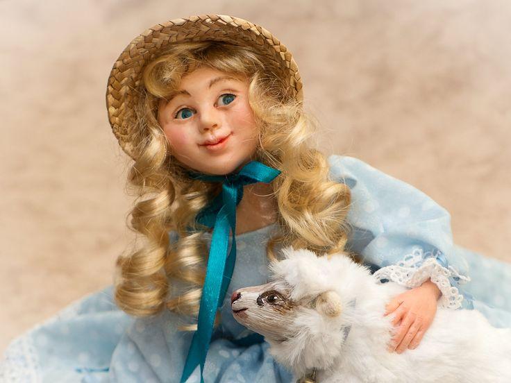 Мэри с барашком , героиня детского стишка . Глядя на это нежное создание вы обязательно вспомните ваше детство. by ArtDollsLL on Etsy