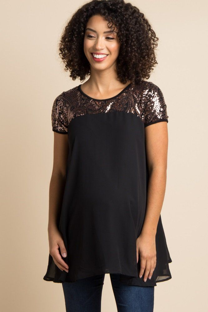 This fabulous and fun sequin accent chiffon maternity tunic is here just in time for the holiday season. This dress features a lightweight chiffon material and a paisley sequin accent. Whether you are dancing all night or ringing in the new year, this flirty and flowy tunic will leave you looking and feeling incredible.