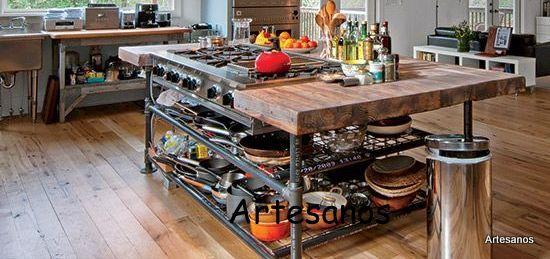 Mesa isla de cocina cocinas pinterest mesas - Banquetas para isla ...