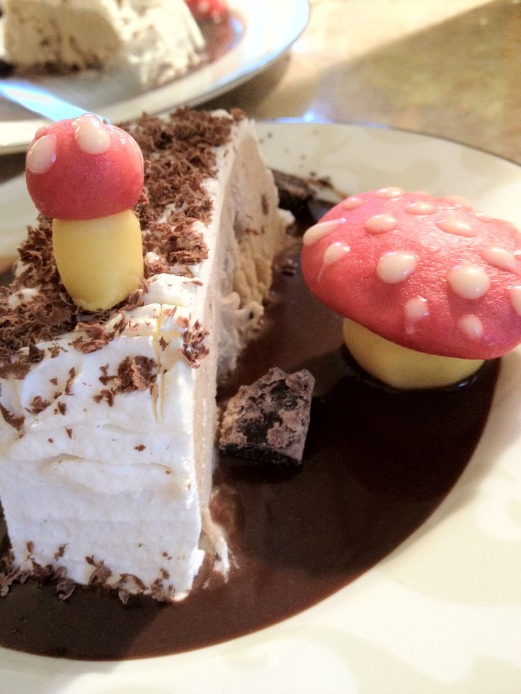 Frozen Chestnut Parfait with little marzipan mushrooms and a chocolate sauce
