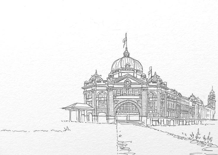 outline Flinder's Street station #skecth #outline #bookcover #designer #endahpamulatsih #2014