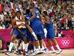 Endene Miyem of France celebrates with Sandrine Gruda after defeating Russia