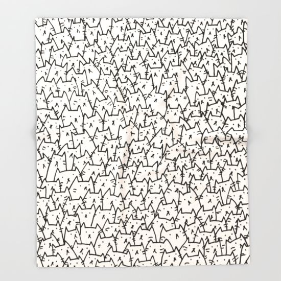 Keep yourself and loved ones warm this winter with this indescribably cute cat throw blanket made by Kitten Rain on Society6.com