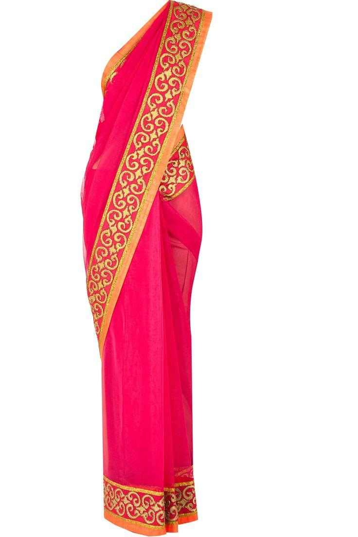 Hot pink zari embroidered sari BY PRIYAL PRAKASH. Shop now at perniaspopupshop.com #perniaspopupshop #clothes #womensfashion #love #indiandesigner #sari #happyshopping #sexy #chic #fabulous #PerniasPopUpShop #priyalprakash
