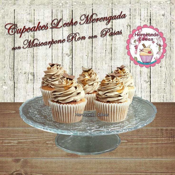 Cupcakes de Leche Merengada con Mascarpone de Ron con Pasas. Horneando Ideas. www.Horneandoideas.com