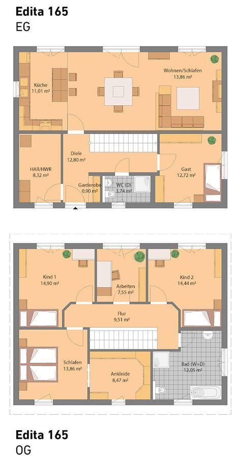 Richtig viel Platz bietet unser Edita 165.   All unsere Häuser sind optional auch mit Keller möglich.