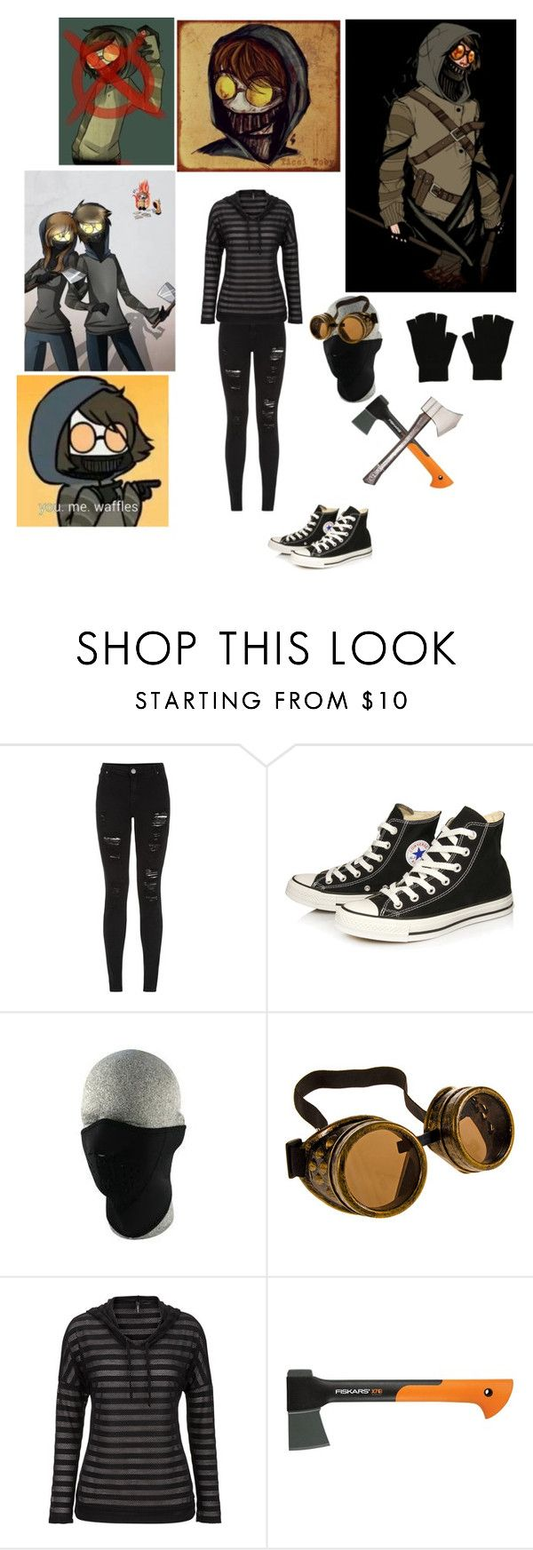 """""""Female Ticci - Toby Cosplay"""" by shadow-cheshire ❤ liked on Polyvore featuring Parisian, Converse, maurices and Fiskars"""