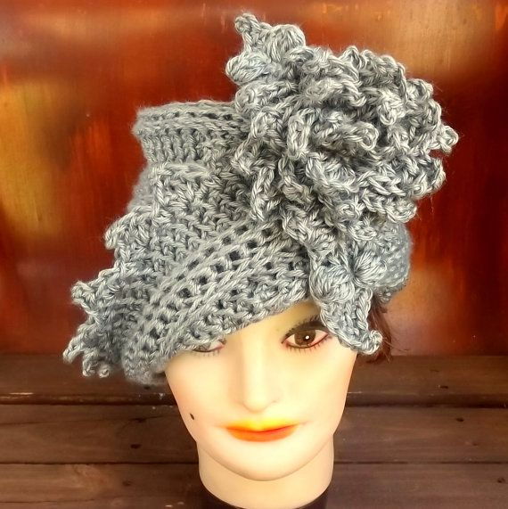 Click #strawberrycouture 50th Birthday Gift for Women  Gray Crochet Hat  Womens Hat Trendy  Gray Hat  African Hat  Lauren 1920s Cloche Hat Crochet Flower by strawberrycouture