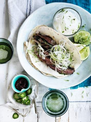 Neil Perry's skirt steak tacos. Simply marinate the meat, fire up the grill, and make sure the side serves are fresh, plentiful and spicy hot.