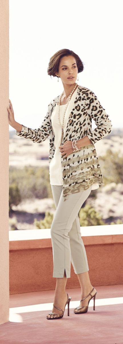 This animal-print cardigan sparkles with glittery gold stripes.