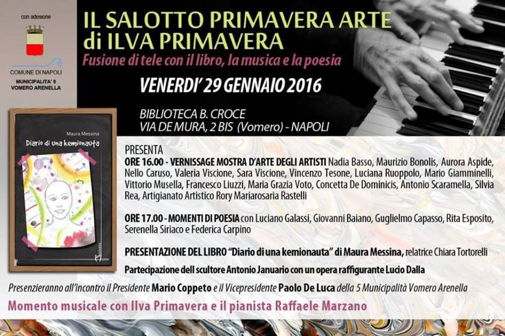 """Napoli, alla Biblioteca B. Croce il """"Salotto Primavera Arte"""" presenta """"Fusione di Tele con il Libro, la Musica e la Poesia"""""""