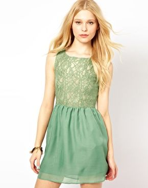 Glamorous Skater Dress With Lace Top