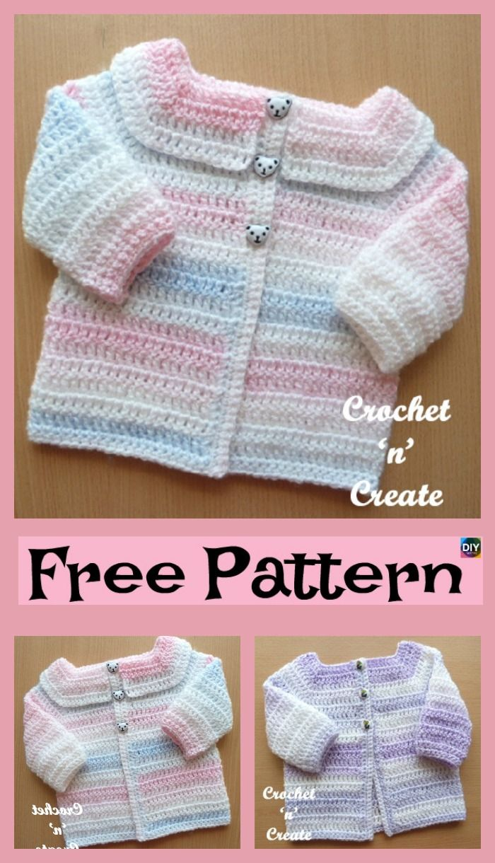 8222005a1 Cozy Crocheted Baby Cardigan - Free Patterns