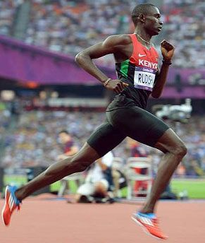 This is what I'm talking about, sprinters.  See how his leg extension is all in the back?  He doesn't reach with his front leg, he pushes off the back leg.  David Rudisha, world record 800 1:40.91