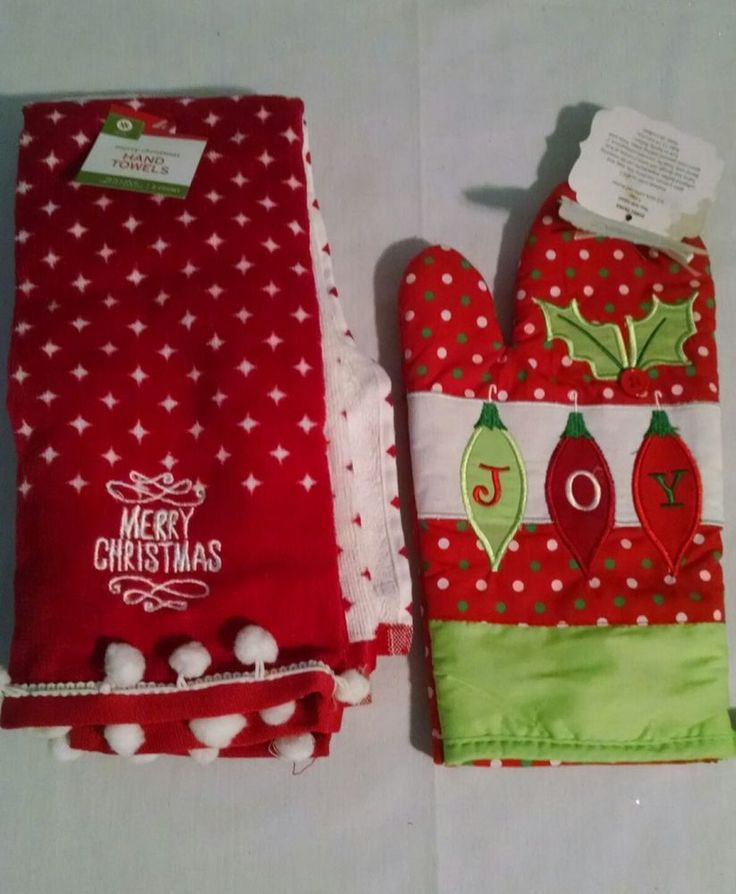 Christmas Kitchen Towels Oven Mit Set Red Green Pom Poms Joy Merry Christmas #Unbranded