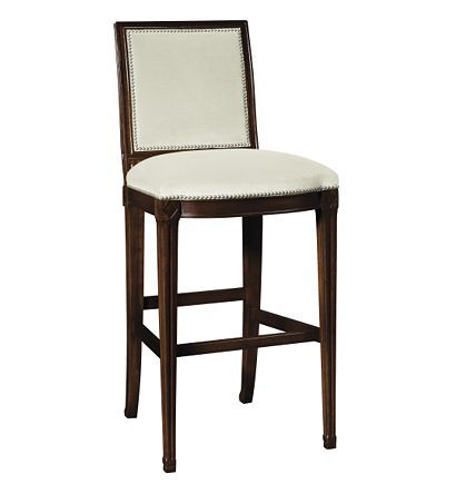 "Amsterdam Bar Stool from the Suzanne Kasler collection by Hickory Chair Furniture Co.    Overall:     44""h x 18.75""w x 21""d Seat Height:  30.25"" h   Another classic -- wish it swiveled..."