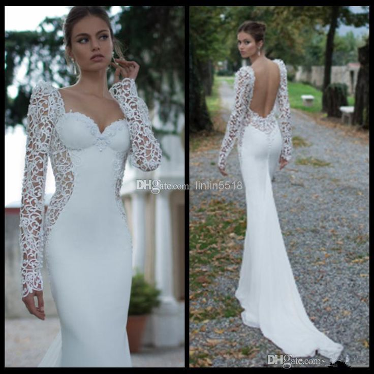 Berta Winter Ivory Lace Illusion Long Sleeve Open Back Mermaid Berta Winter 2014 Wedding Dresses Sweetheart Court Train Satin Wedding Bridal