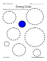 Drawing Circles Worksheet: Trace each circle. Then Color the circles. Information: Draw Shapes, Drawing Shapes, Shape, Circle