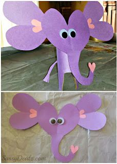 A whole bunch of easy Valentine's crafts made with hearts: elephant, butterfly, fox, raccoon, snail, frog, monkey, etc.