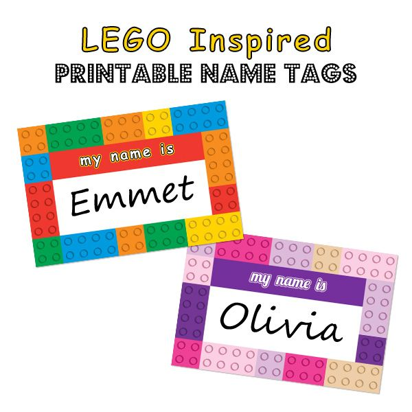 LEGO Inspired Printable Name Tags