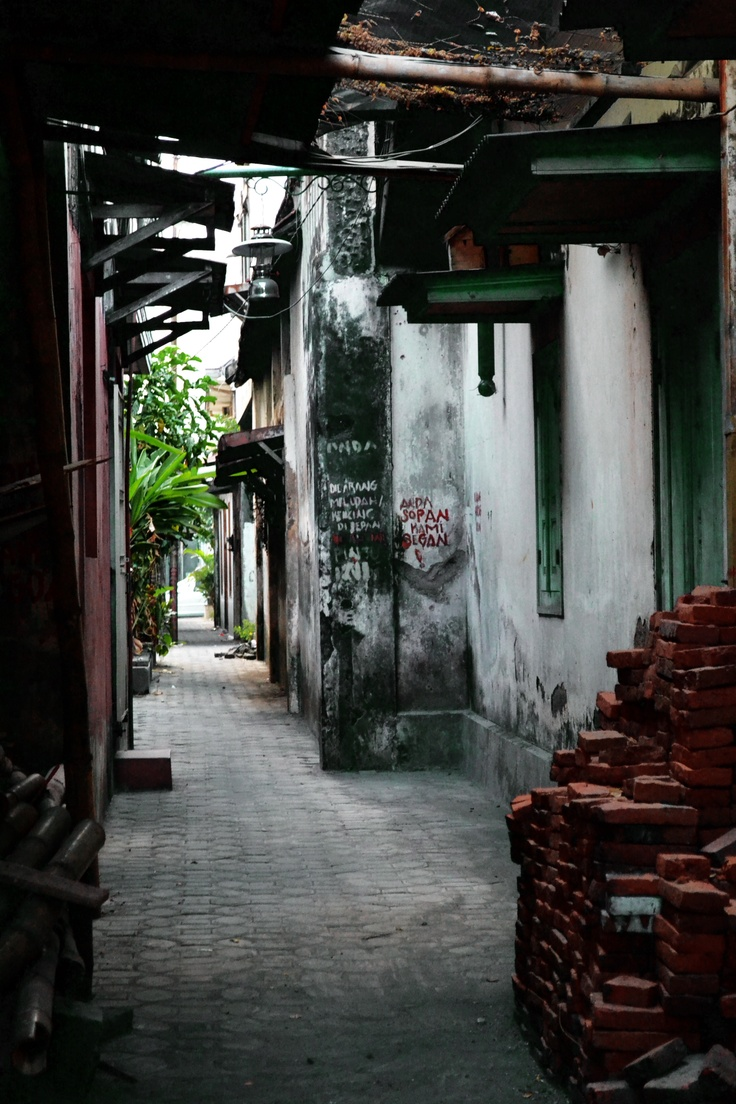 An alley in Kauman - Kampung Wisata Batik, Solo. This is an area in Solo where batik maker lives.