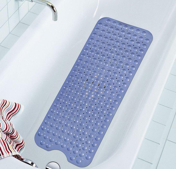 Extra Long Bathtub Mats Anti-Slip Tub Mat Anti-Bacterial Shower Mat,Simple Deluxe Non Slip Bath Mats by NTTR,Machine Washable(Blue,16 W x 39 L Inches)