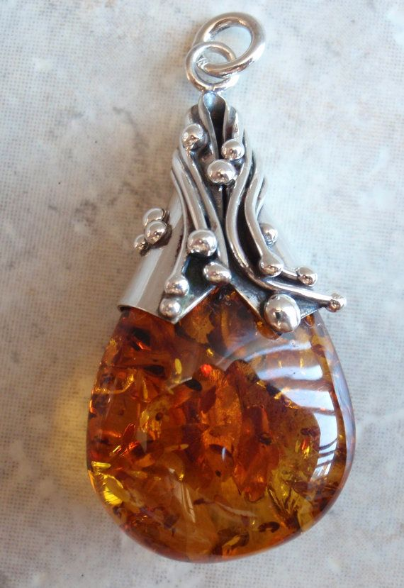 Huge Amber and Sterling Artisan Drop Tongue Pendant by cutterstone, $155.00
