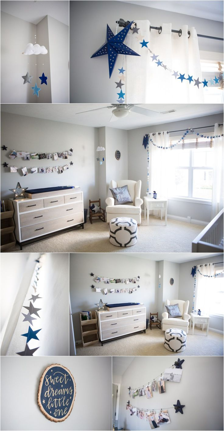 Repose Gray by Sherwin Williams painted nursery - perfect paint color - star and moon themed nursery - the navy blue accents it well