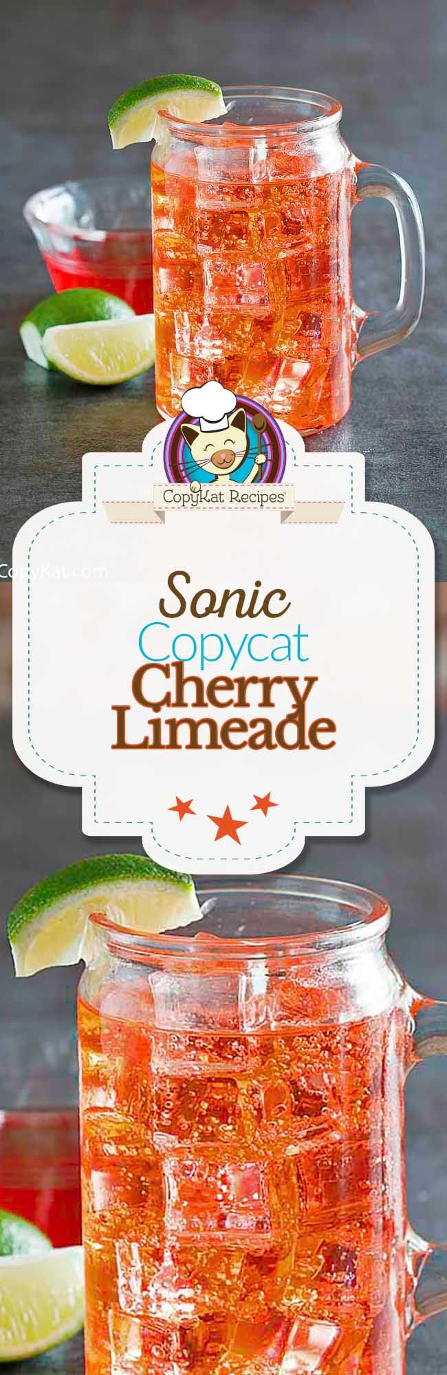 You can recreate the famous Sonic Cherry Limeade at home with this easy copycat recipe.