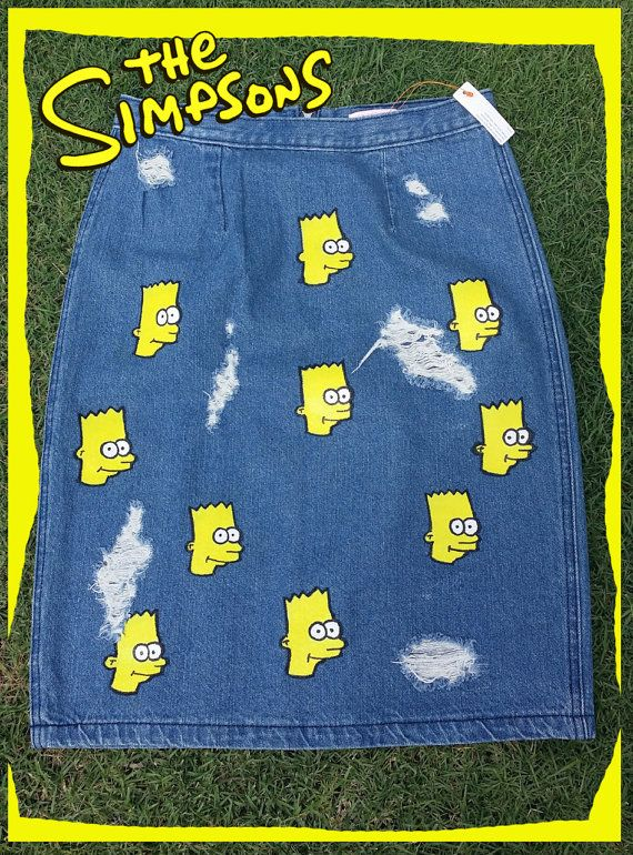 The simpsons clothing  ripped distressed denim  by emiworkshop