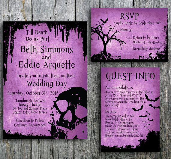Halloween Wedding Invitation Suite with Skull by LangDesignShop