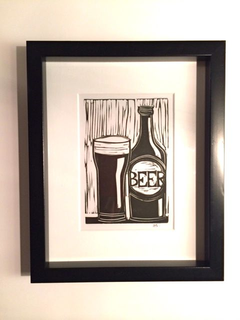 FOR THE CRAFT BEER CONNOISSEUR: This linocut print fits into a standard 8x10 frame All of my linocut prints are hand-drawn and hand-cut on linoleum blocks from my studio Each print is then carefully inked and pulled by hand on premium acid-free paper Each print is produced as a unique and handmade piece of art