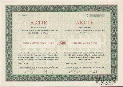 A1512 Muzeum cennych papiru /Akciový pivovar a sladovna v Praze XII./ Aktienbrauerei und Malzfabrik in Prag XII. / akcie na majitele (Inhaberaktie) 1 500 K , Praha (Prag ) 24.7.1942 / AZP4CZ024