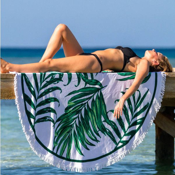 Palm & Peach Tropical Palm Print Round Beach Towel ($99) ❤ liked on Polyvore featuring home, bed & bath, bath, beach towels and oversized beach towels
