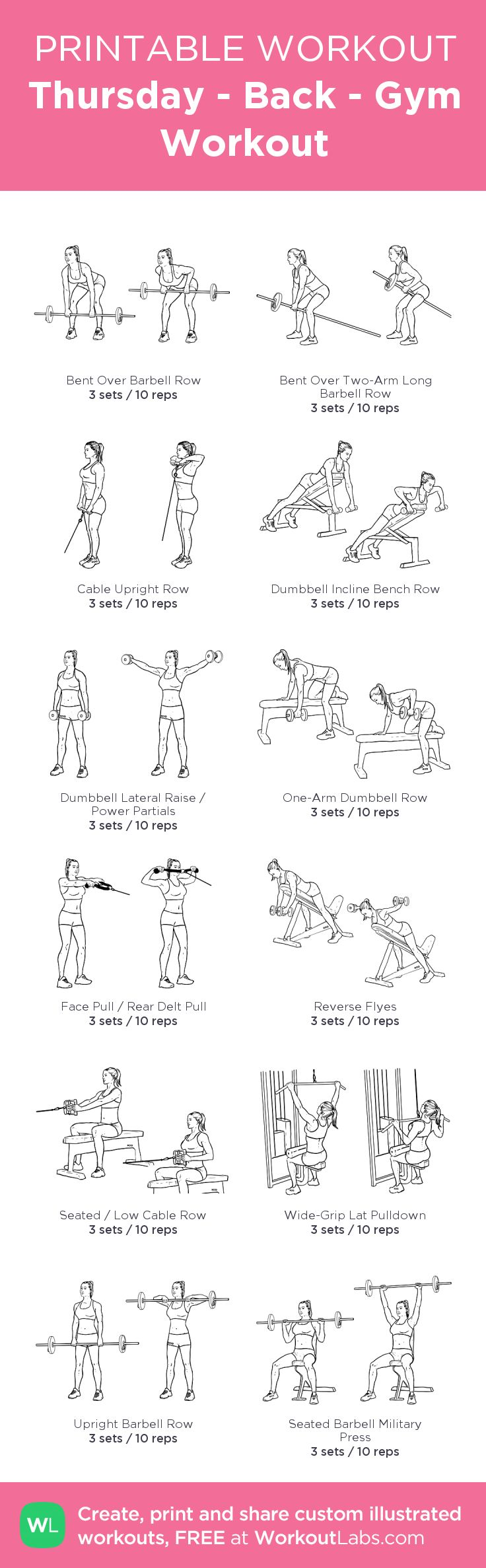 Thursday - Back - Gym Workout – my custom workout created at WorkoutLabs.com • Click through to download as printable PDF! #customworkout