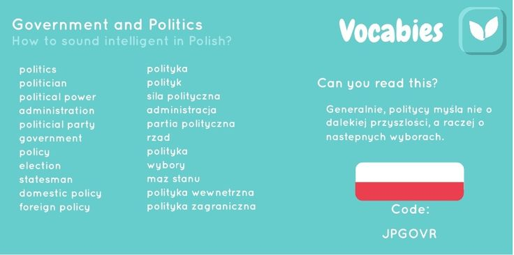 'How to sound intelligent in Polish' by Vocabies app  Government and Politics part 1  Use the code to download the words in Vocabies app and learn them there!