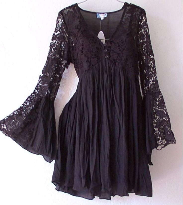 NEW~Black Victorian Lace Vintage Empire Peasant Boho Dress~12/10/L/Large #JGee #EmpireWaist #Casual