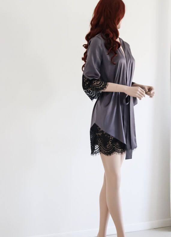 Silk and Lace Robe/ Short Silk Robe / Sexy Robe/ by SilkBrides